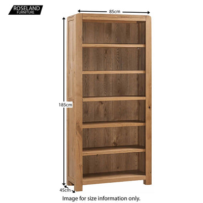 Capri Oak Rustic Large Bookcase - Size Guide