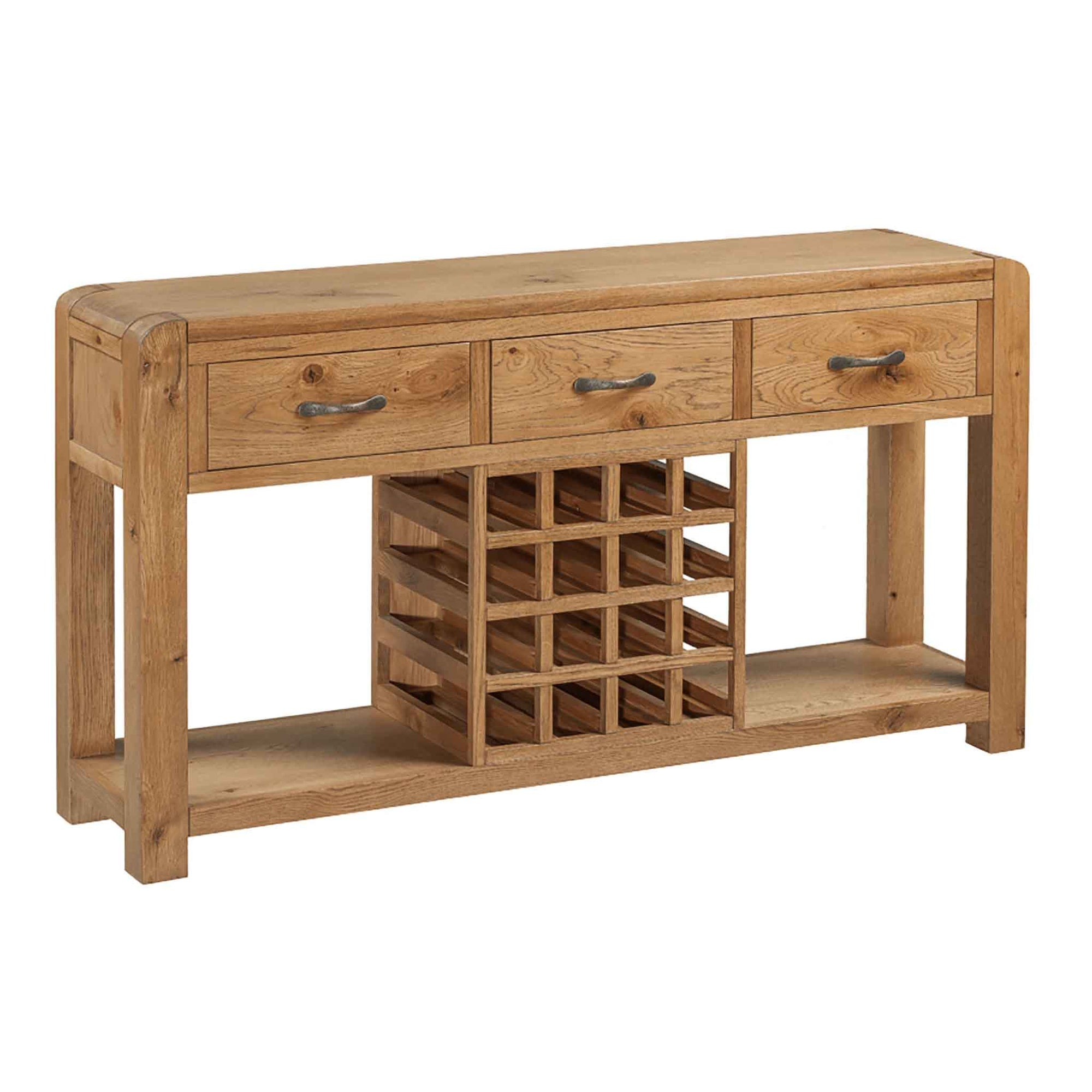 The Capri Oak Chunky Rustic Large Sideboard with Wine Rack from Roseland Furniture