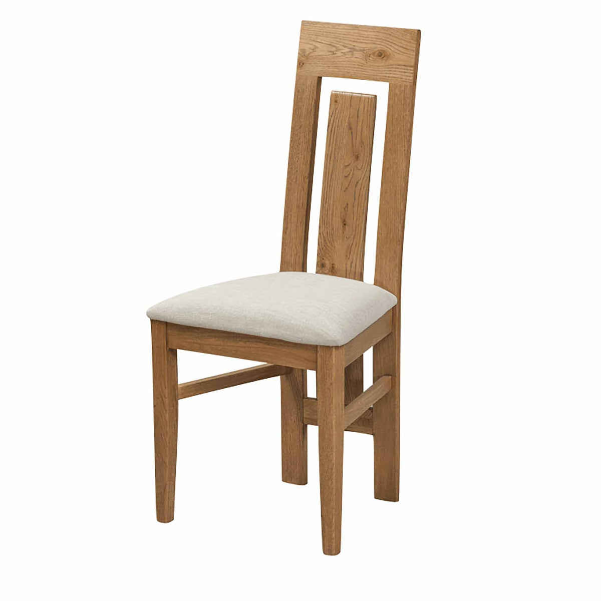 The Capri Oak Chunky Rustic Dining Chair from Roseland Furniture