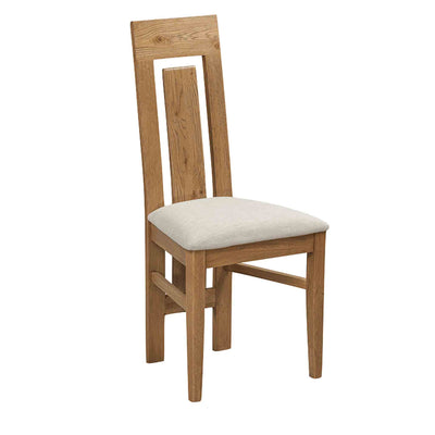 The Capri Oak Rustic Wooden Dining Chair from Roseland Furniture