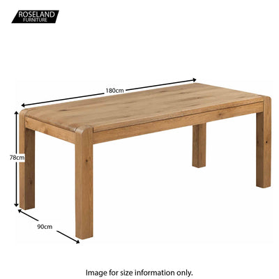 Capri Oak Chunky Rustic Wooden Dining Table - Size Guide