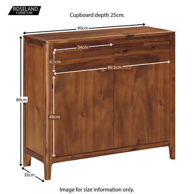 The Dunmore Acacia Small 2 Door Sideboard Cabinet - Size Guide