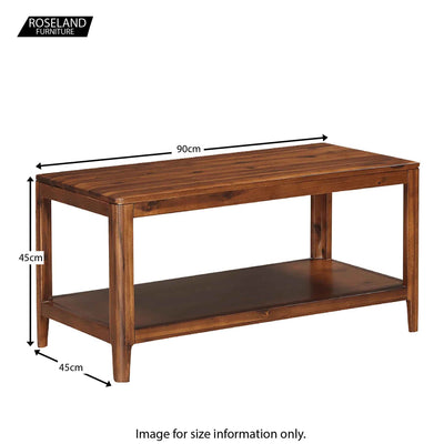 Dunmore Acacia Dark Wood Coffee Table - Size Guide