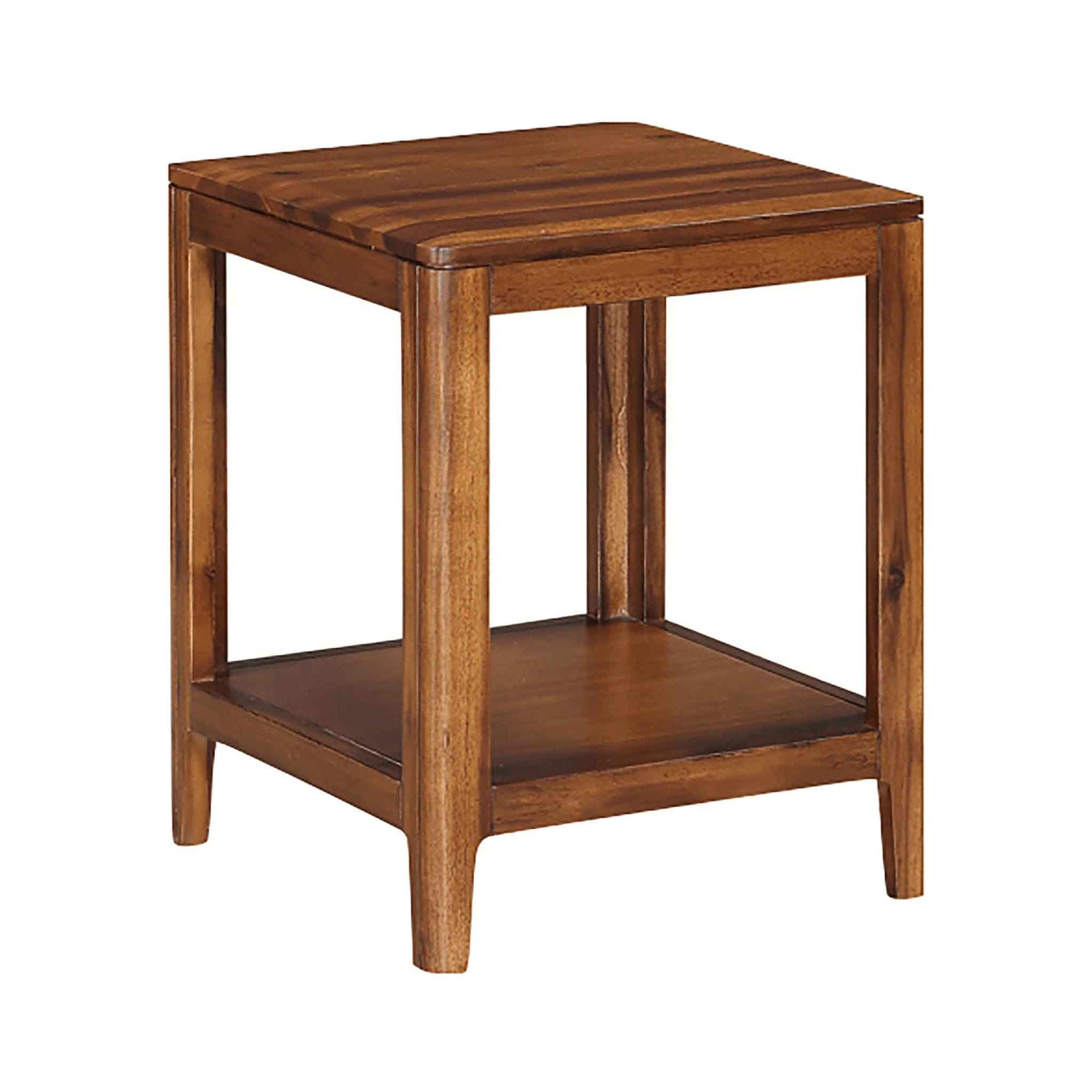 The Dunmore Acacia Dark Wood End Table from Roseland Furniture