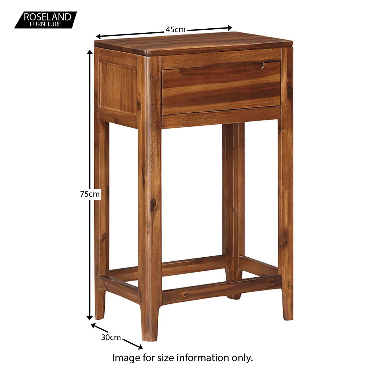 Dunmore Acacia Small Console Hall Table - Size Guide