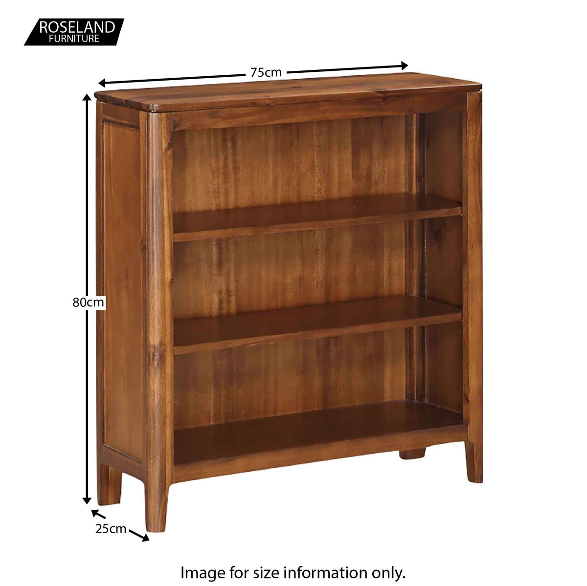 Dunmore Acacia Small Low Bookcase with 3 Shelves - Size Guide