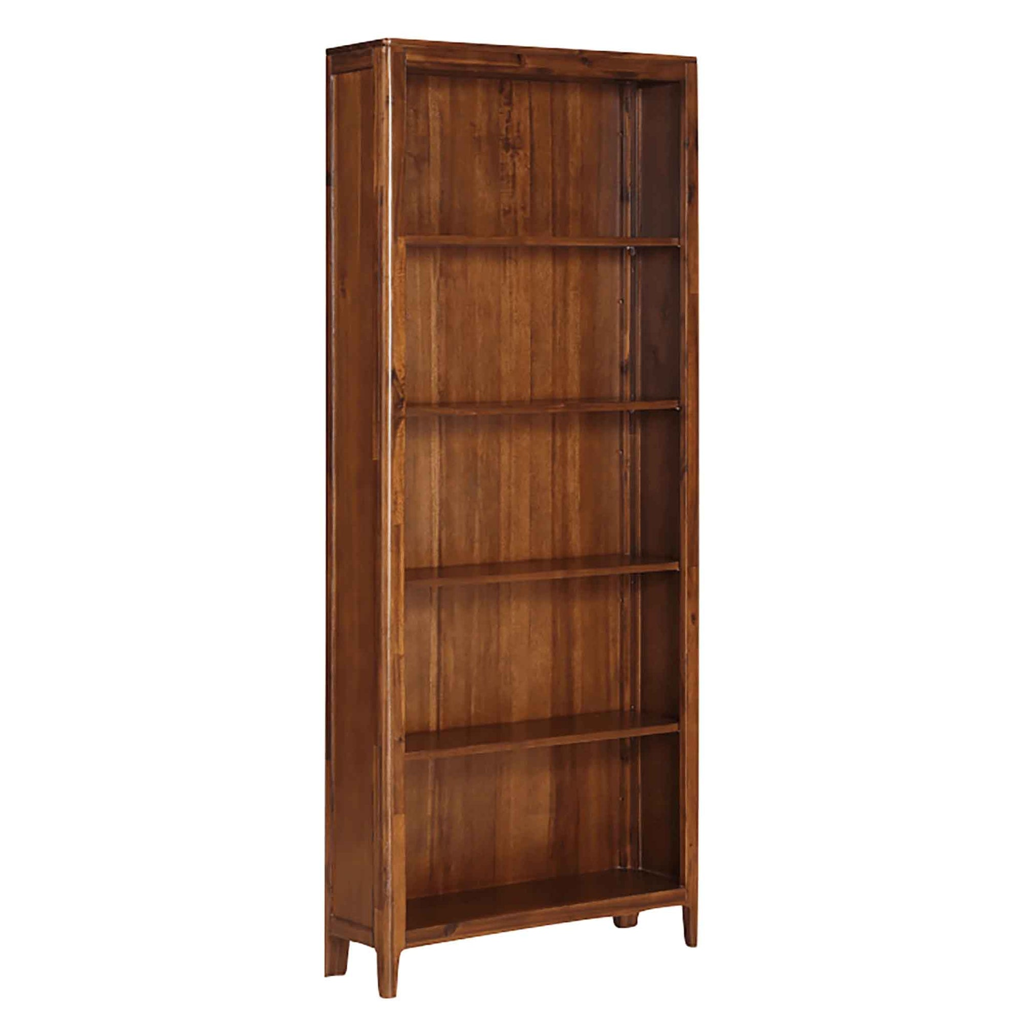 The Dunmore Acacia Dark Wood Large Bookcase with 5 Shelves from Roseland Furniture