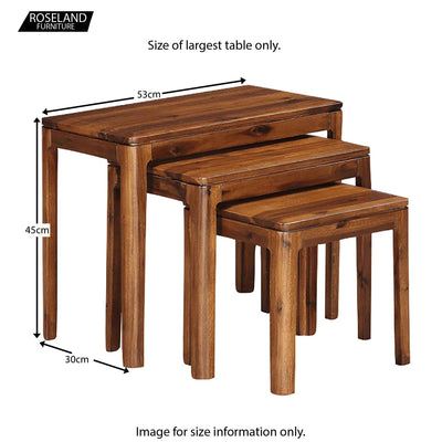 Dunmore Acacia Dark Wood Nest of Tables f- Size Guide