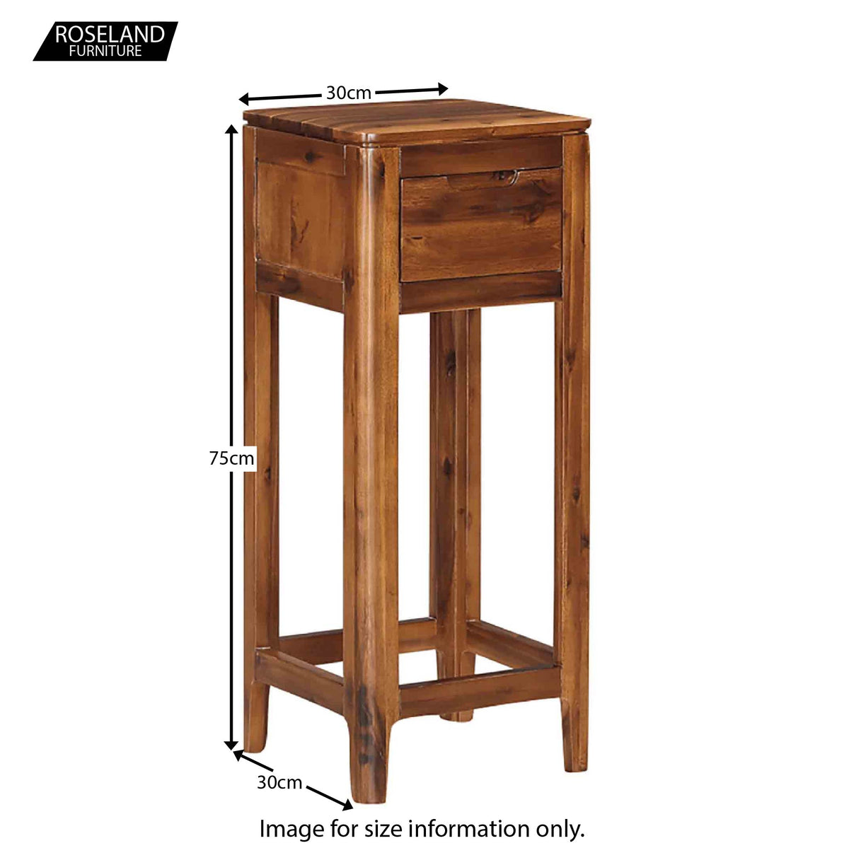 Dunmore Acacia Dark Wood Hallway Telephone Stand - Size Guide