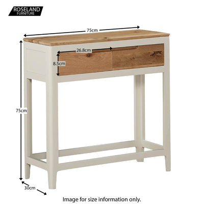 Dunmore Painted Console Hall Table - Size Guide