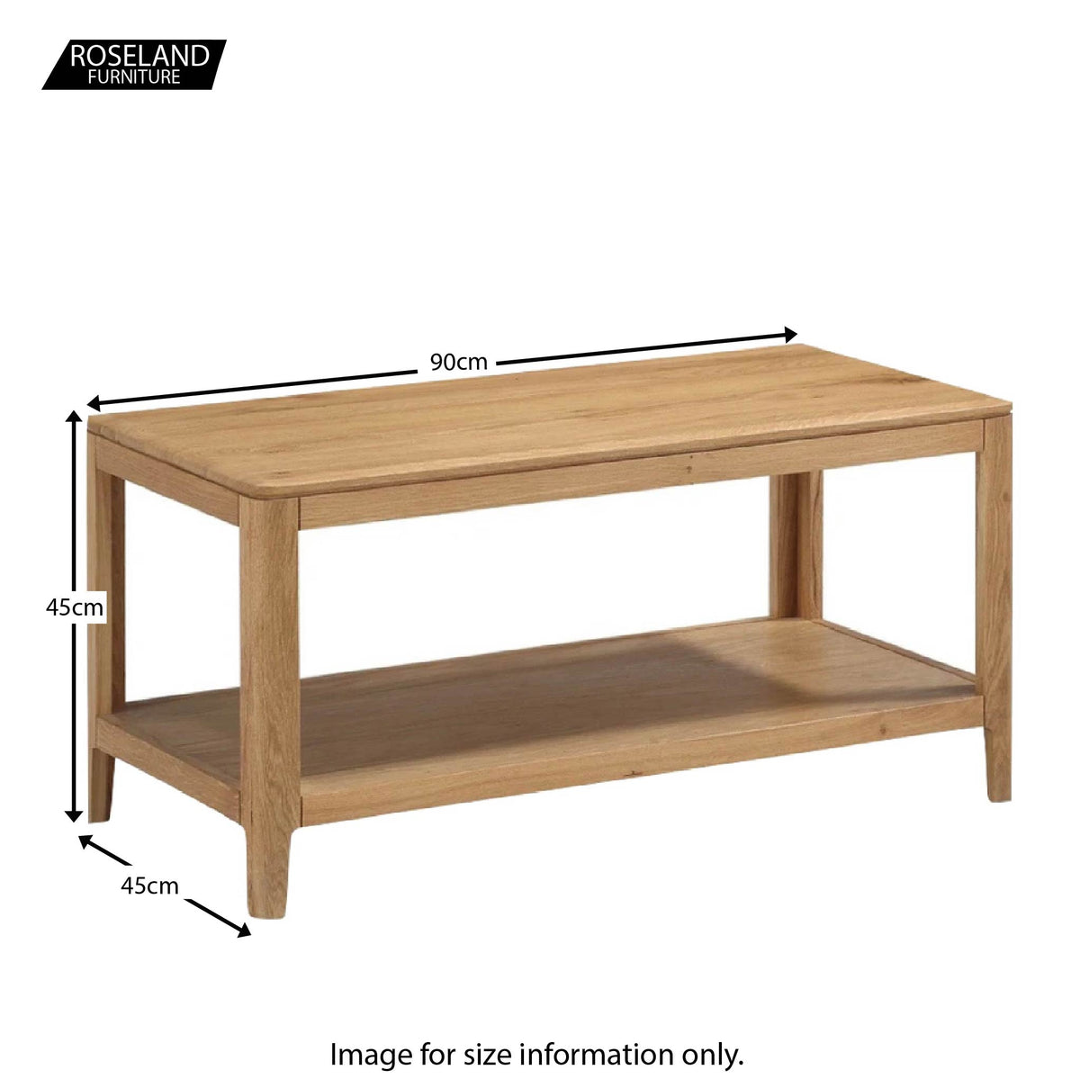Dunmore Oak Coffee Table - Size Guide