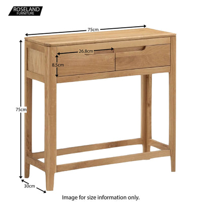 Dunmore Oak Console Hall Table - Size Guide