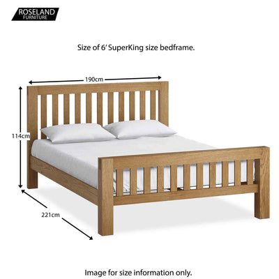 Abbey Super King Size Bed Frame - Size Guide