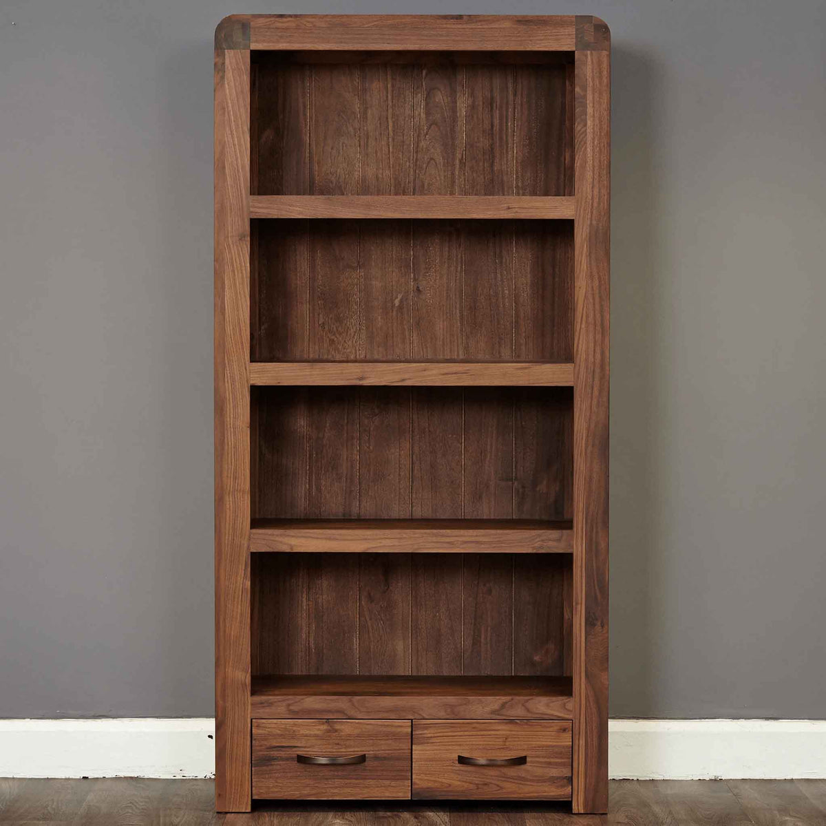 The Salem Walnut Tall Large Wooden Bookcase with 4 Shelves from Roseland Furniture