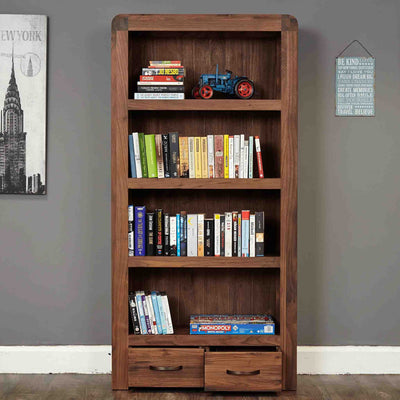 The Salem Walnut Tall Large 4 Shelf Bookcase with Drawers from Roseland Furniture