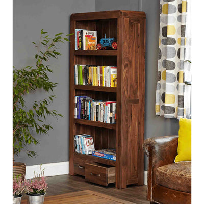 The Salem Walnut Tall Large Solid Wood Bookcase with 4 Shelves from Roseland Furniture