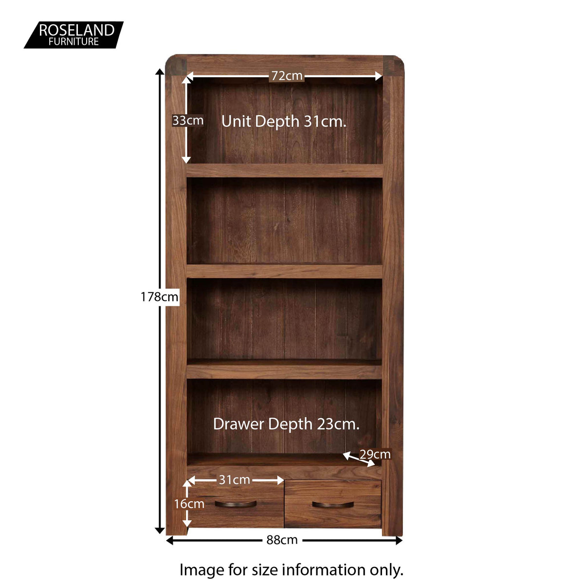Salem Walnut Large Wooden Bookcase - Size Guide