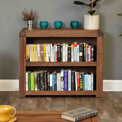 The Salem Walnut Small Low Bookcase from Roseland Furniture