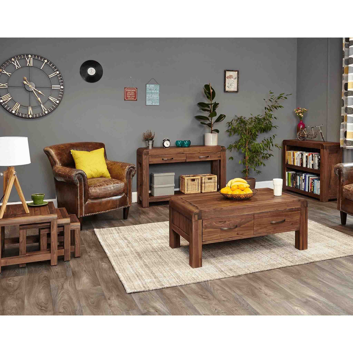 Lifestyle image of The Salem Walnut Small Low Bookcase from Roseland Furniture