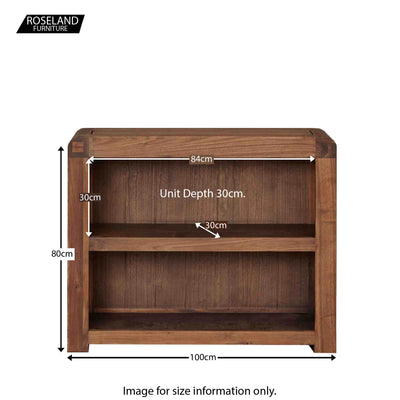 Salem Walnut Small Low Bookcase - Size Guide