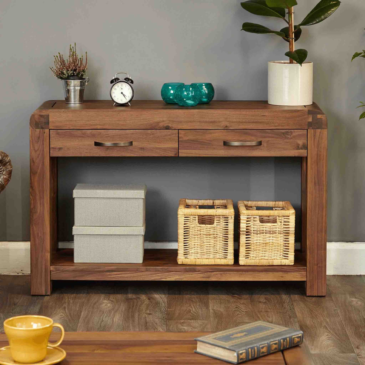 The Salem Walnut Large Wooden Hall Console Table with 2 Drawers from Roseland Furniture