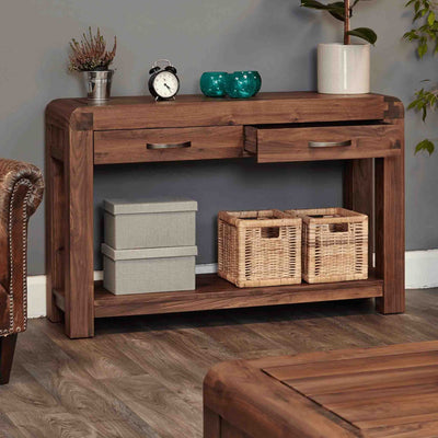 Open drawer view of The Salem Walnut Large Wooden Hallway Console Table from Roseland Furniture