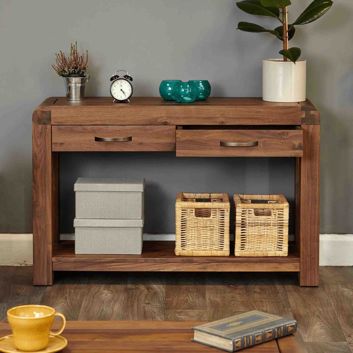 The Salem Walnut Large Wooden Hallway Console Table with 2 Storage from Roseland Furniture