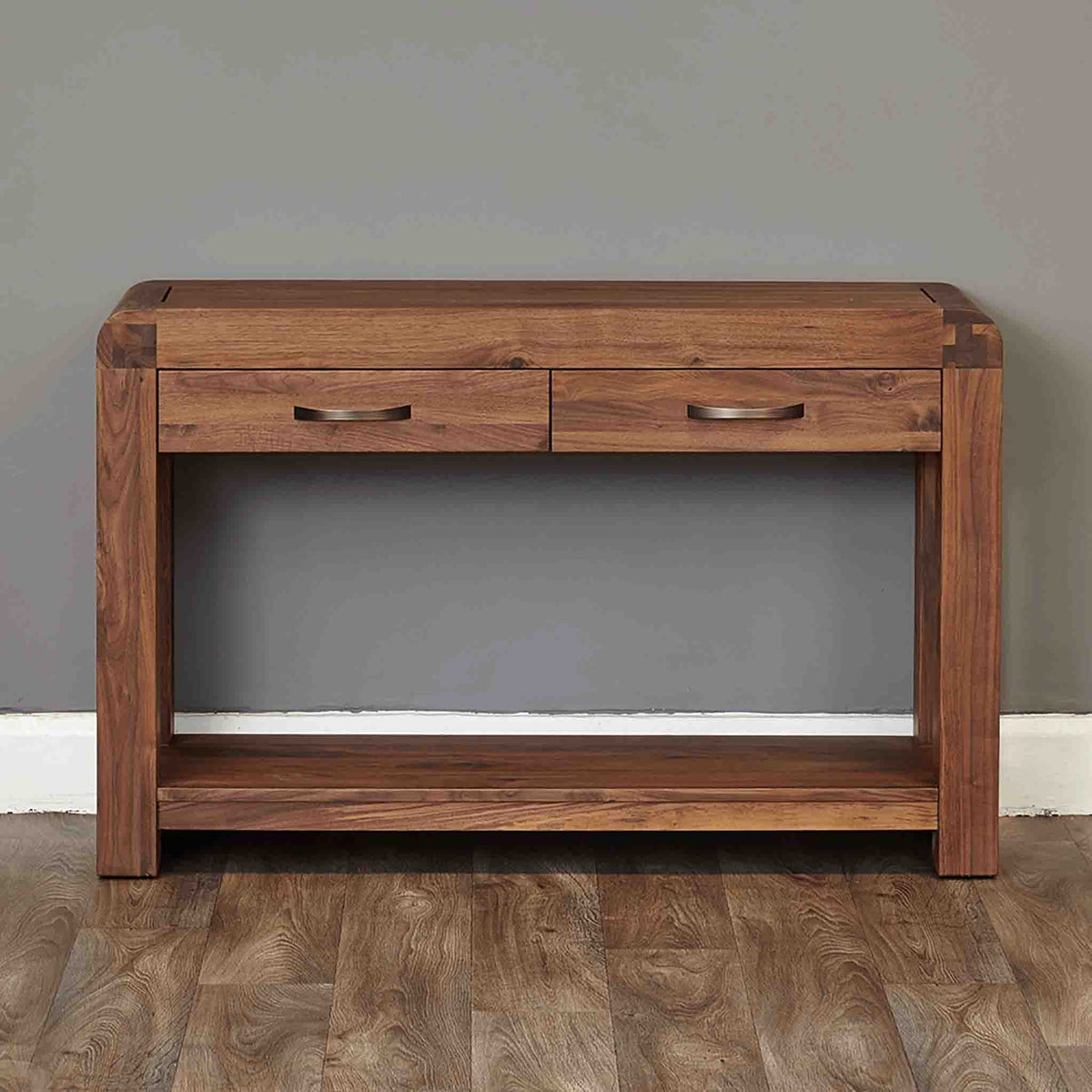 The Salem Walnut Large Wooden Hallway Console Table with 2 Drawers from Roseland Furniture