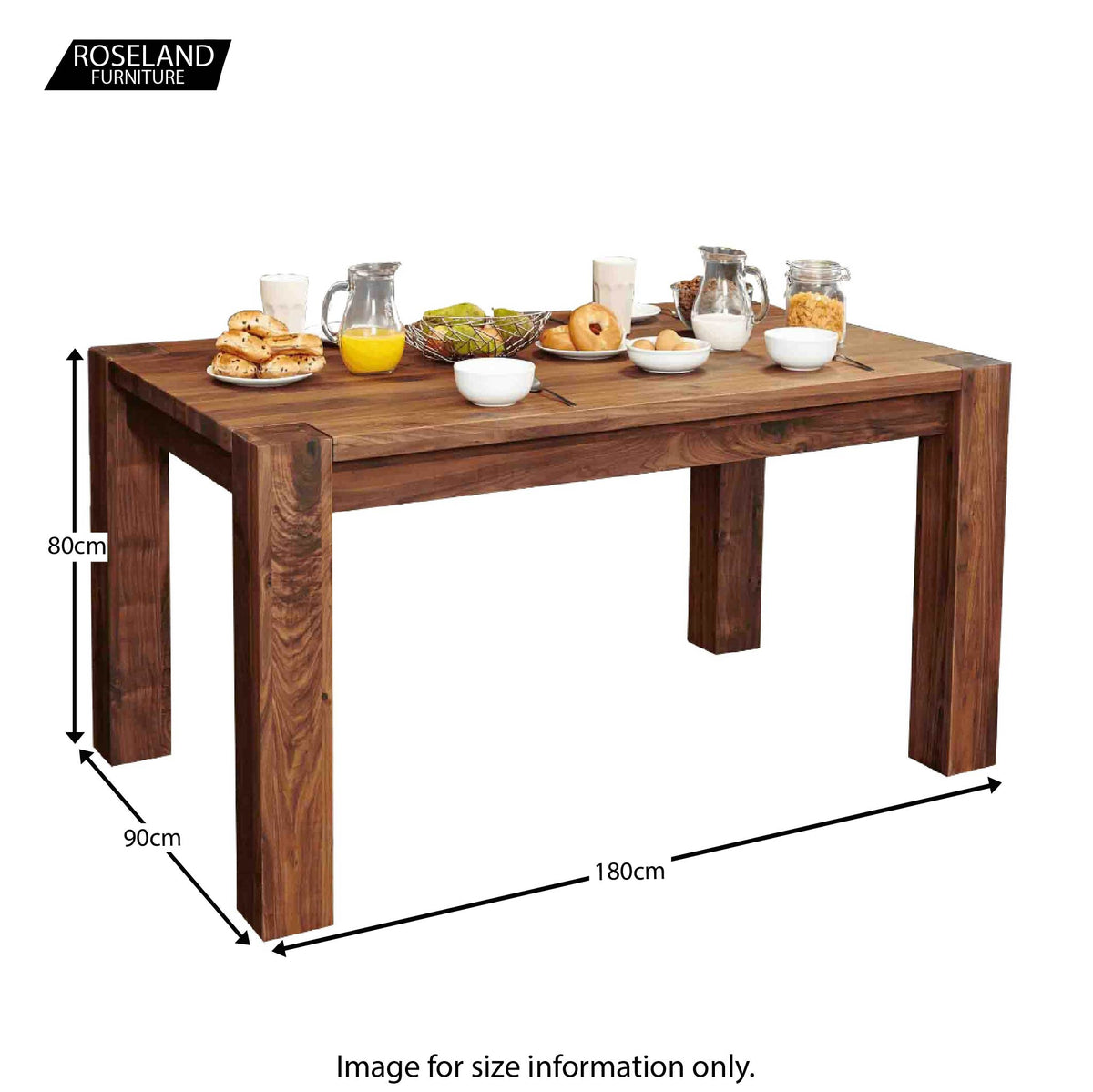 Salem Walnut Large Dining Table - Size Guide