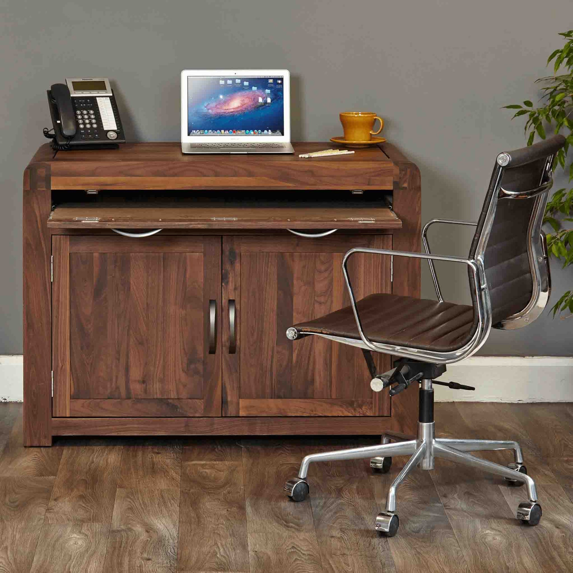 The Salem Wanut Wooden Computer Desk Cabinet from Roseland Furniture
