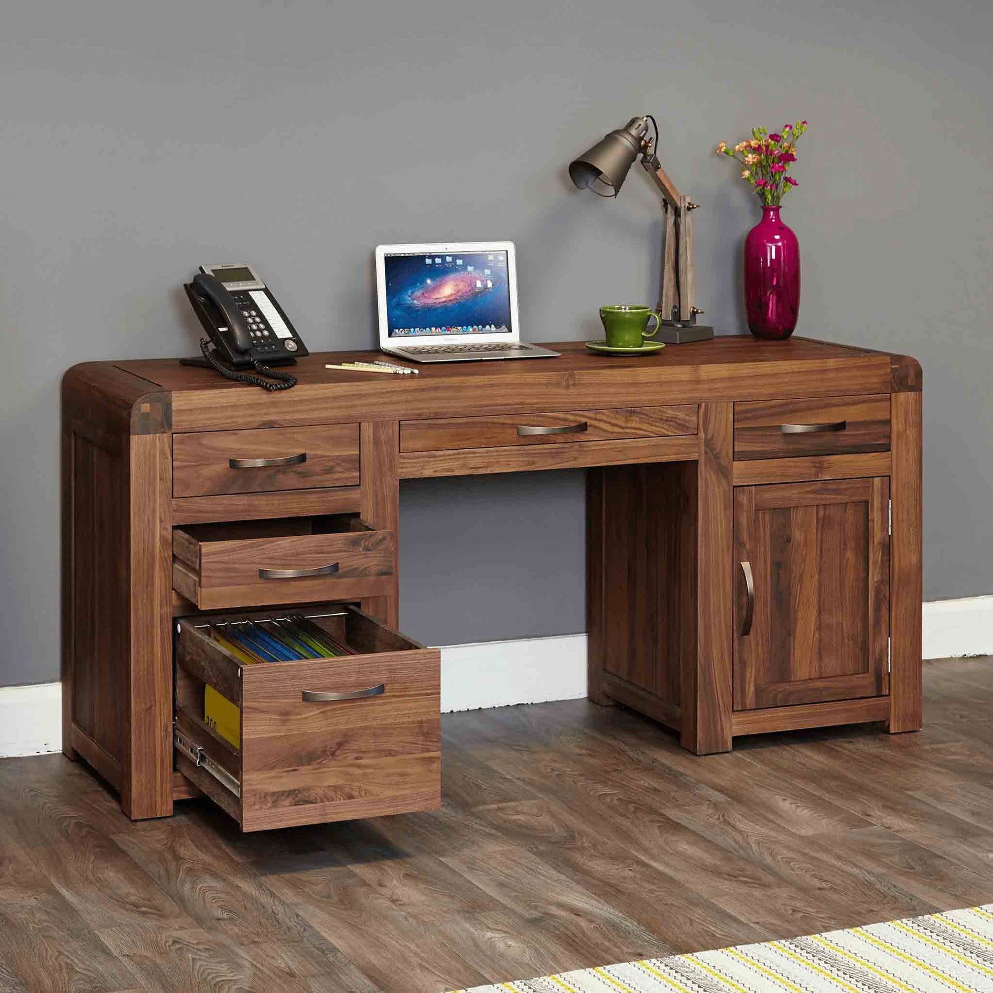 The Salem Walnut Large Wooden Office Desk from Roseland Furniture