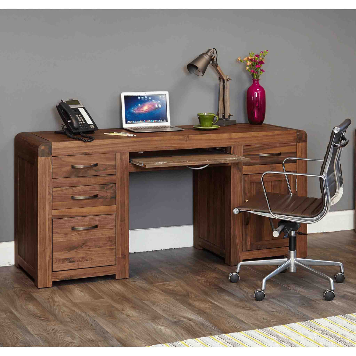 Pull out drawer view of The Salem Walnut Large Wooden Office Desk