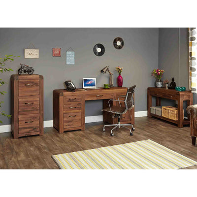 Lifestyle room view of The Salem Walnut Large Wooden Office Desk