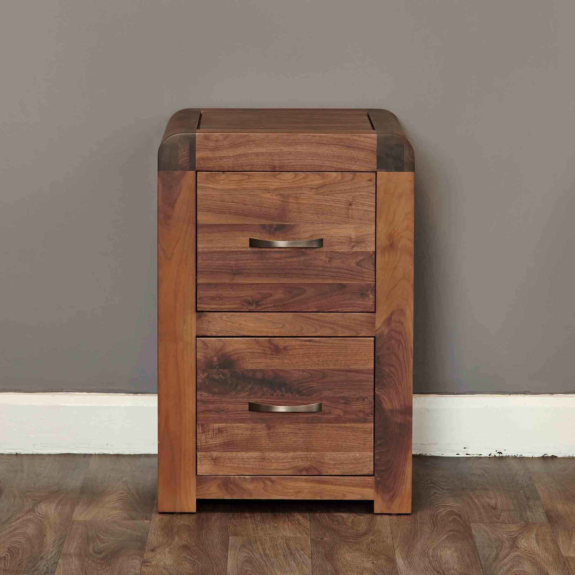The Salem Walnut Small 2 Drawer Office Filing Cabinet from Roseland Furniture