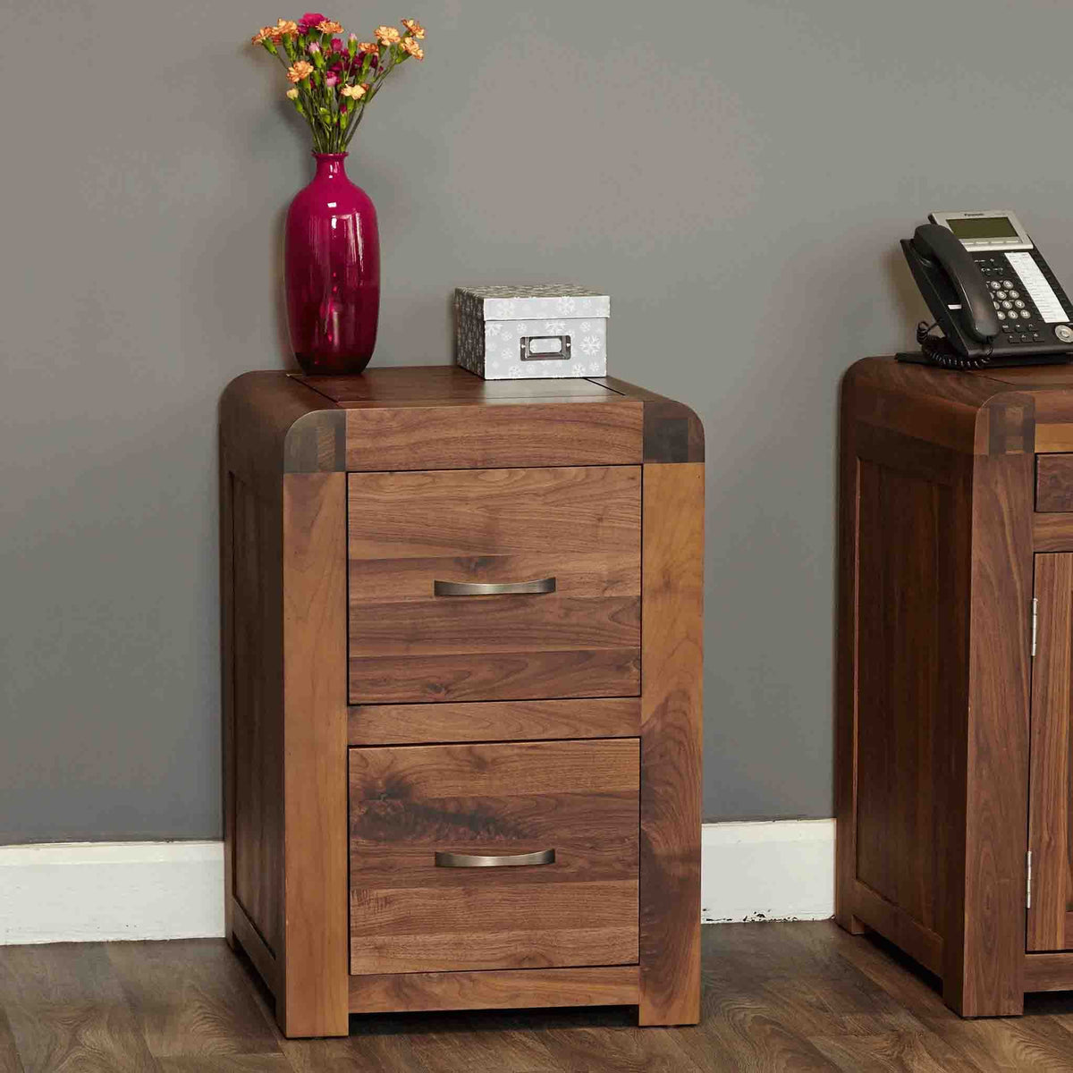 The Salem Walnut Small Wooden Office Filing Cabinet from Roseland Furniture
