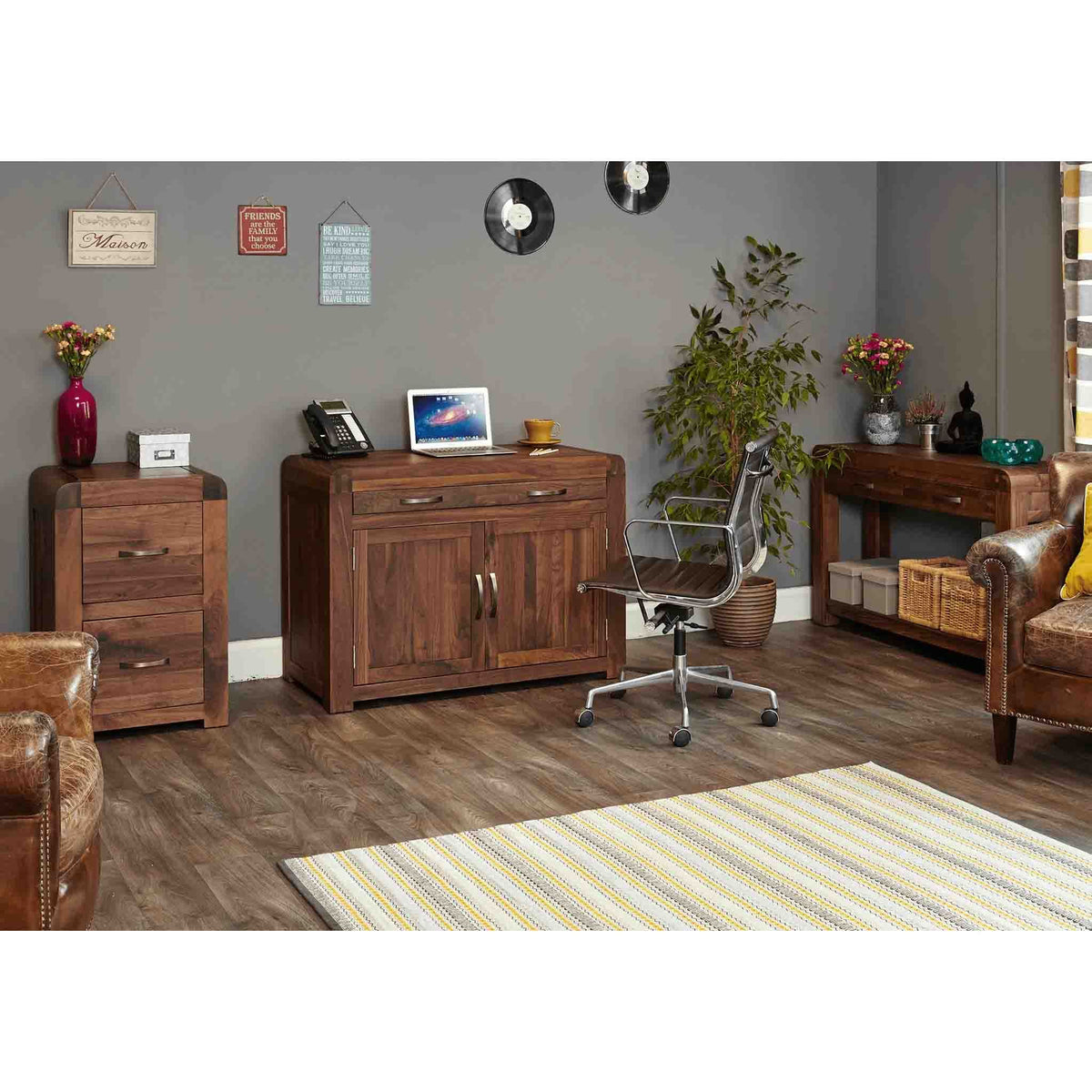 Lifestyle image with The Salem Walnut Small 2 Drawer Office Filing Cabinet