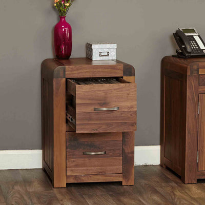 Open drawer view of The Salem Walnut Small 2 Drawer Office Filing Cabinet from Roseland Furniture