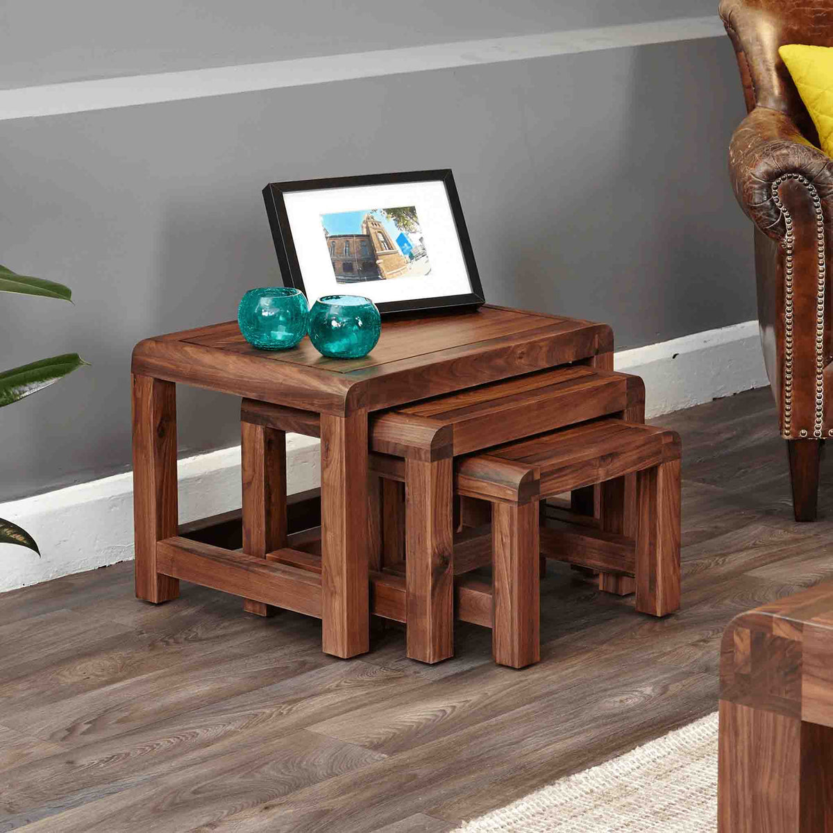 The Salem Walnut Solid Wooden Nest of Tables from Roseland Furniture