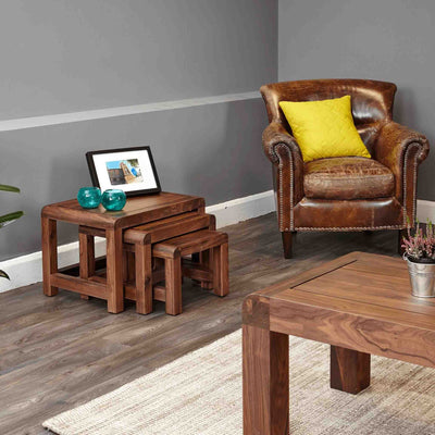 Lifestyle image of The Salem Walnut Solid Wooden Nest of Tables from Roseland Furniture