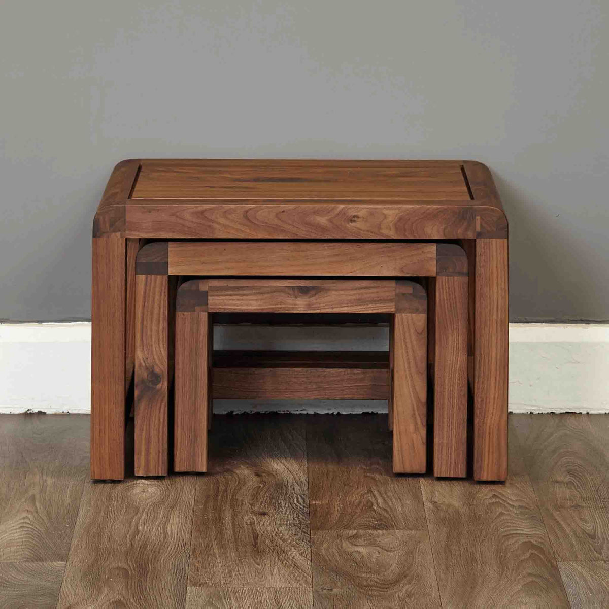 The Salem Walnut Solid Wooden Nesting Tables from Roseland Furniture