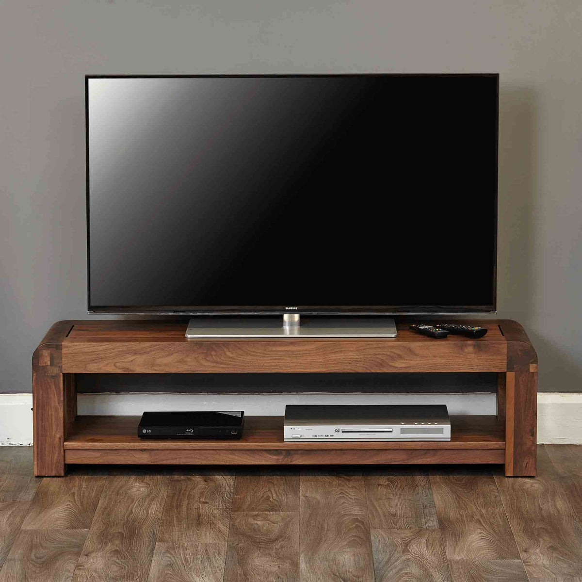 The Salem Walnut Large Wooden TV Stand 130cm from Roseland Furniture