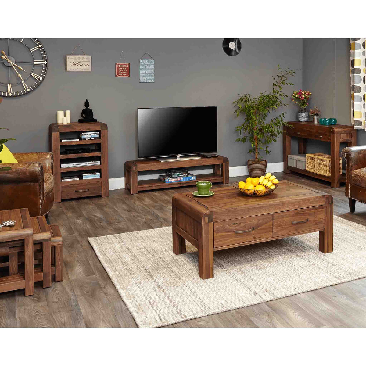 Lifestyle view of The Salem Walnut Large Wooden TV Stand 130cm