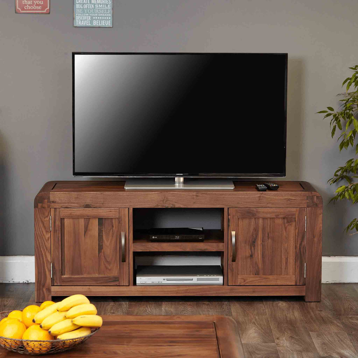 The Salem Walnut Large Wooden TV Stand Storage Unit 142cm from Roseland Furniture