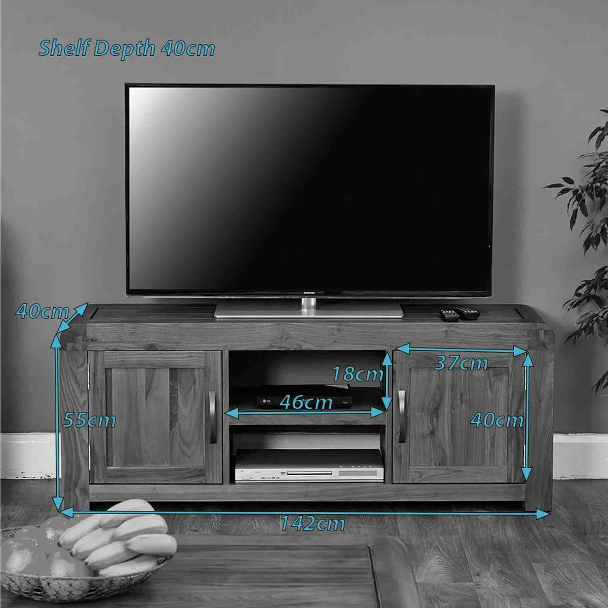 Dimensions for The Salem Walnut Large Wooden TV Stand Storage Cabinet