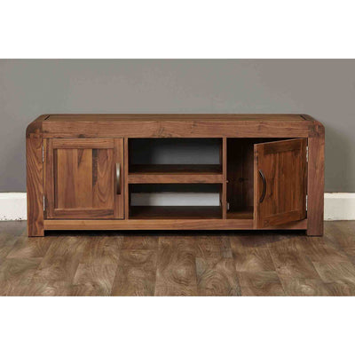 Opened door view of The Salem Walnut Large Wooden Television Unit with Storage