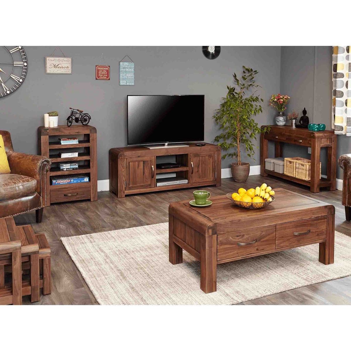 Lifestyle image of The Salem Walnut Large Wooden TV Stand