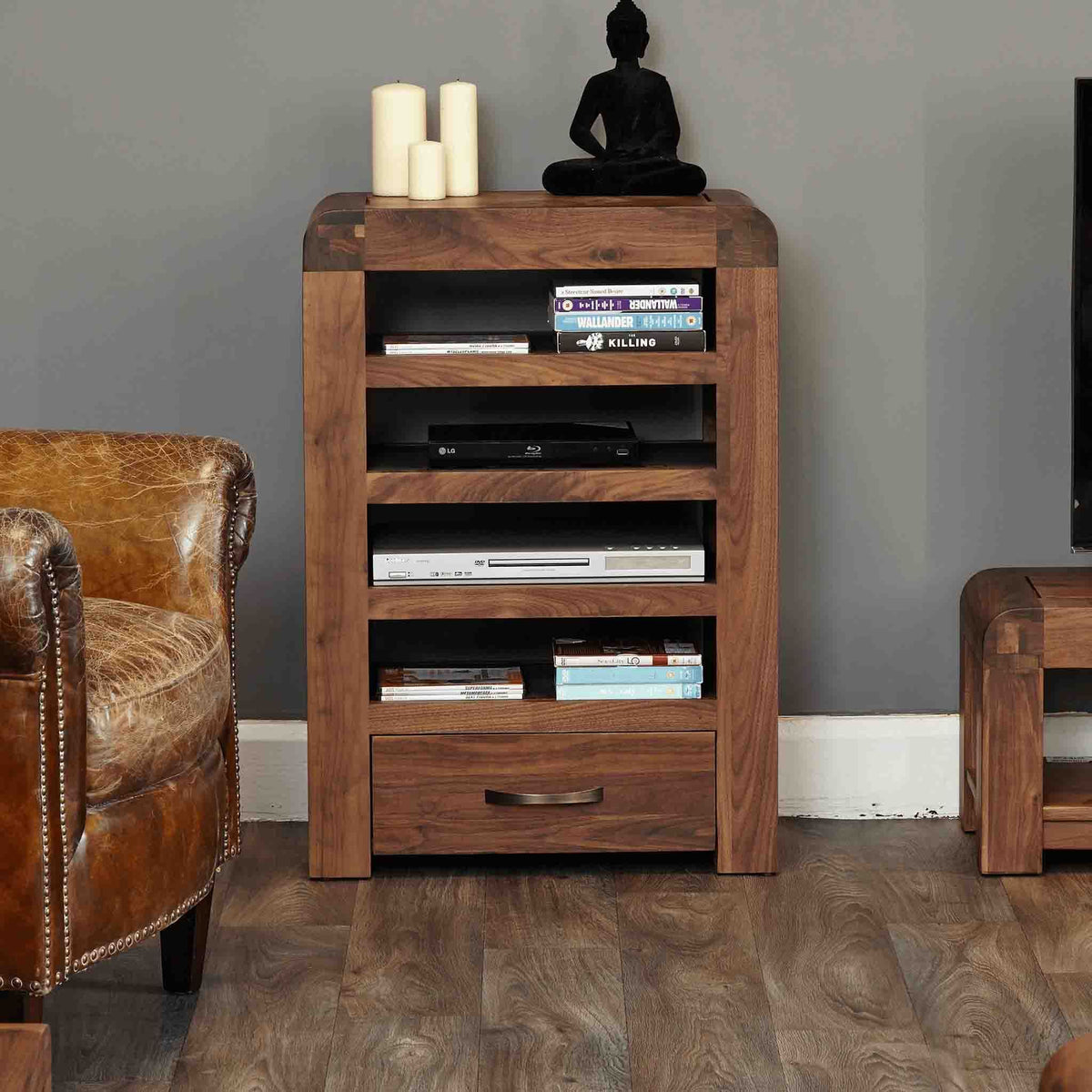 The Salem Walnut Solid Wood Entertainment Unit with Drawer from Roseland Furniture