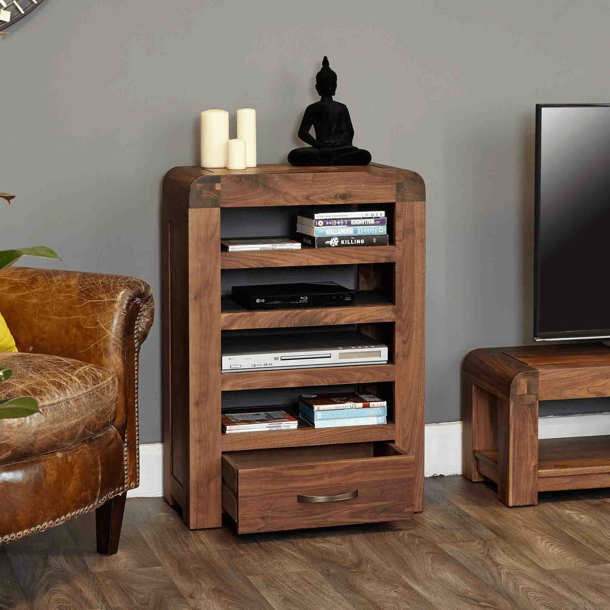 The Salem Walnut Wooden Media Unit from Roseland Furniture