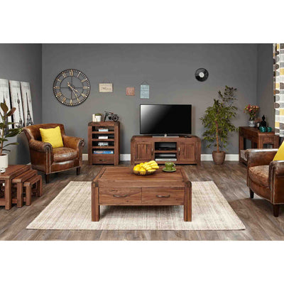 Lifestyle room image with The Salem Walnut Wooden Entertainment Unit