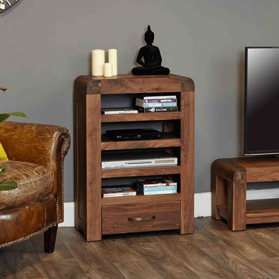 Side view of The Salem Walnut Wooden Entertainment Unit